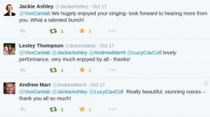 Twitter responses from set at Lucy Cavendish, October 2015