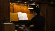 John Bachelor at the newly-refurbished organ.